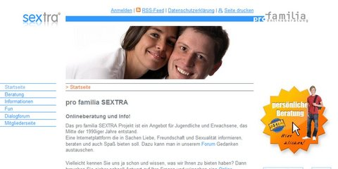 Screenshot Homepage sextra